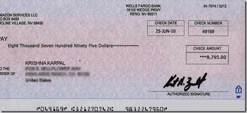 Krishna Karpal cheque