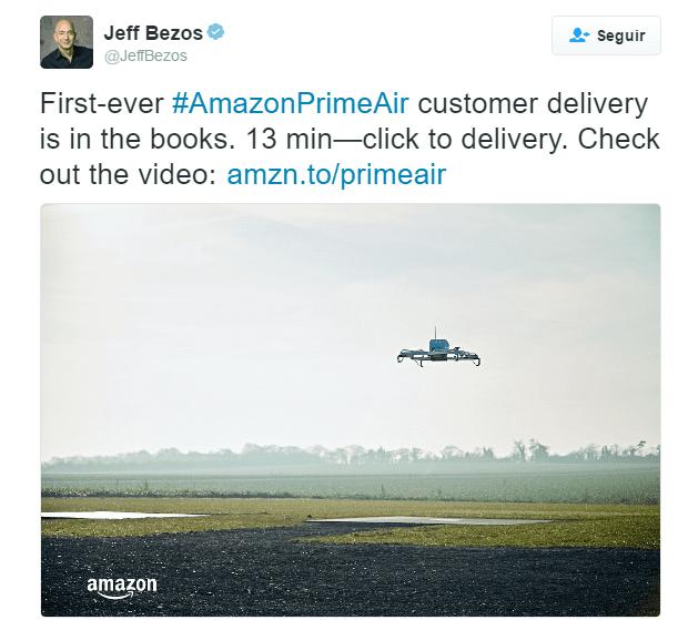 Primeira entrega do drone Amazon Prime Air