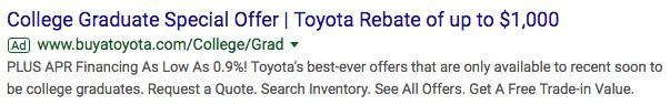 anuncio de búsqueda de marketing automotriz para graduados universitarios