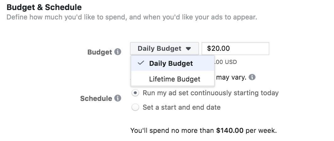 Anuncios de Facebook diarios vs presupuestos de por vida