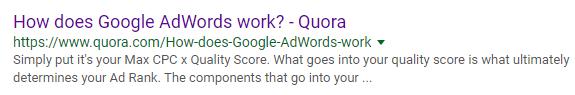quora entre los resultados de búsqueda de google