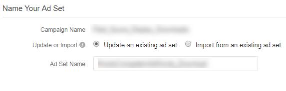 nombrar un conjunto de anuncios en quora