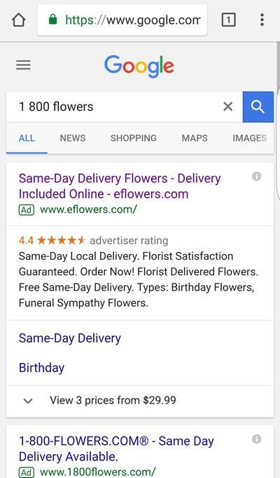 serp móvil para búsquedas de marca