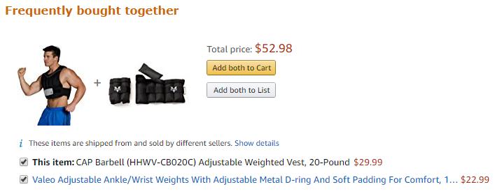 Amazon Cross-Sell a través de frecuentemente comprados juntos