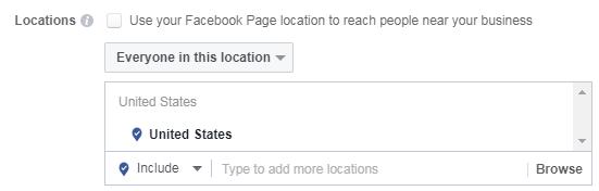 Selección de ubicación de Facebook para conducir compras en la tienda