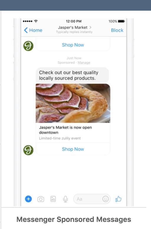 optimización de mensajes patrocinados por anuncios de Facebook Messenger
