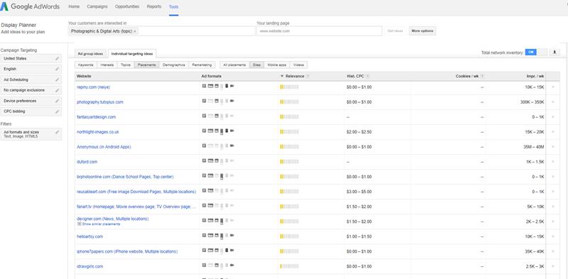 utilizando ubicaciones gestionadas en la red de Display de Google