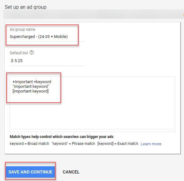 definición de grupos de anuncios sobrealimentados en adwords