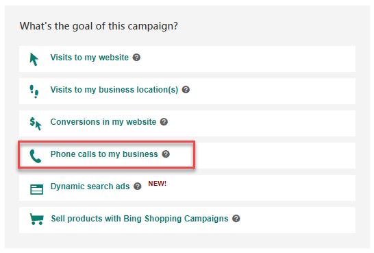 El objetivo de la campaña de anuncios de Bing genera llamadas telefónicas para mi negocio