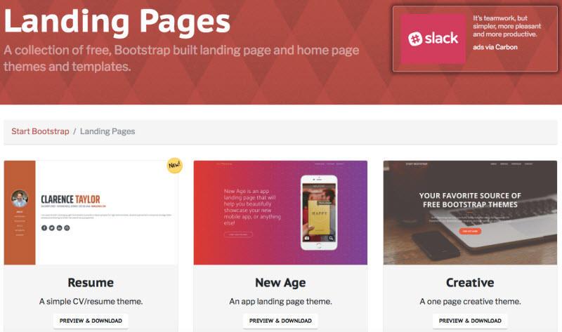 Plantillas de página de destino gratuitas Páginas de destino de Bootstrap