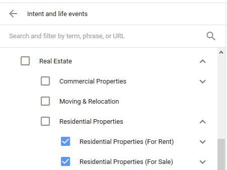 dirigido a eventos de la vida en Google AdWords