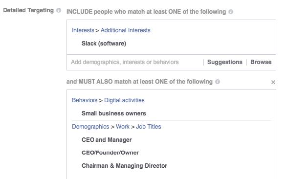 Anuncios de Facebook para empresas SaaS que se dirigen a los puestos de trabajo de SaaS en anuncios de Facebook