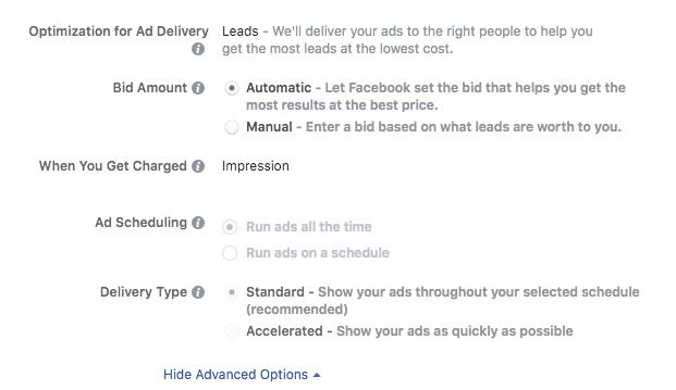 opciones de oferta de publicidad de instagram