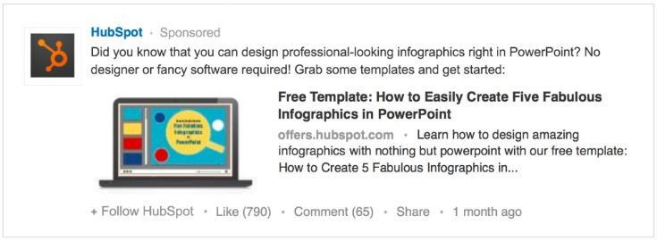 Combine PPC con las redes sociales Ejemplo de actualizaciones patrocinadas de LinkedIn