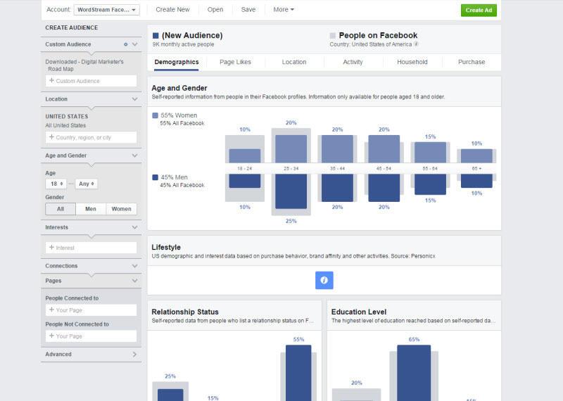 Combine PPC con las redes sociales Captura de pantalla del panel de Facebook Audience Insights