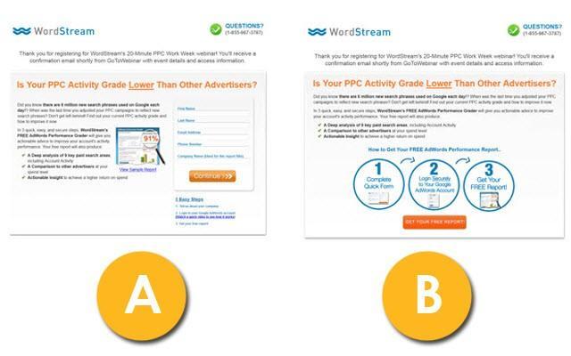 Concepto de prueba de copia A / B del sitio web