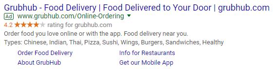 anuncio de AdWords con múltiples extensiones de anuncios