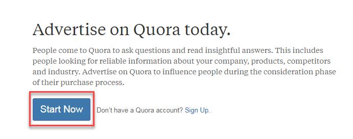 botón quora ads start now