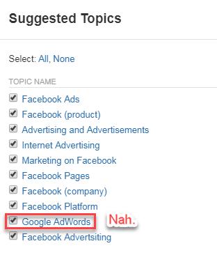 negando temas sugeridos en quora ads