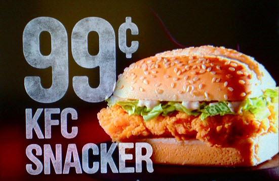 Publicidad subliminal KFC Snacker sandwich sandwich escondido en lechuga