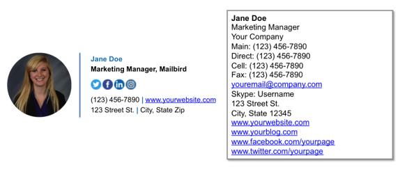 Diseño más limpio de firmas de correo electrónico más información menos espacio