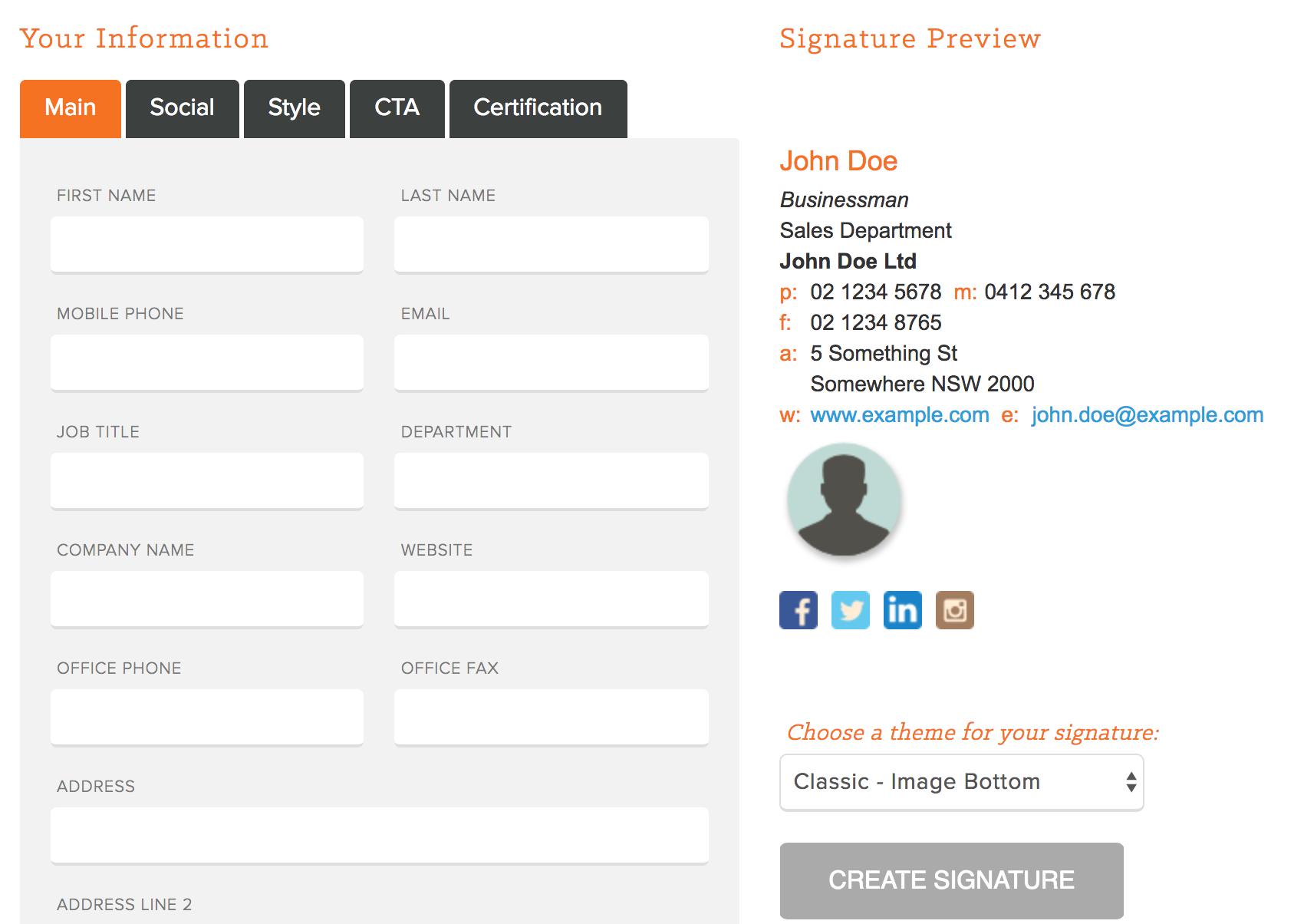 Firmas de correo electrónico Plantillas de generador de firma de correo electrónico de HubSpot
