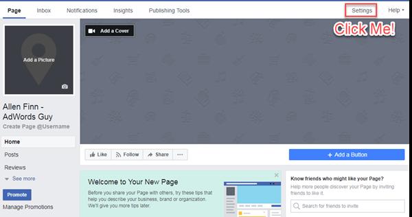 ubicación de la pestaña de configuración de la página comercial de Facebook