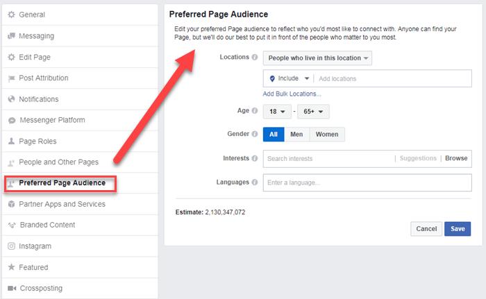 audiencias preferidas de facebook