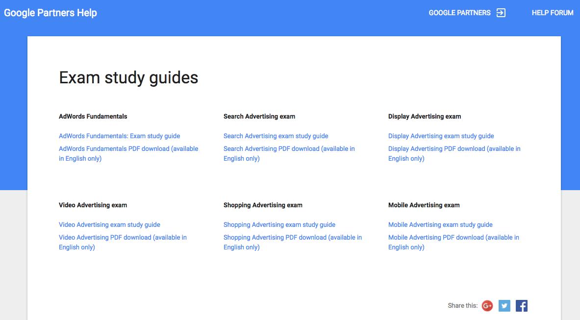 guías de estudio para el examen de adwords