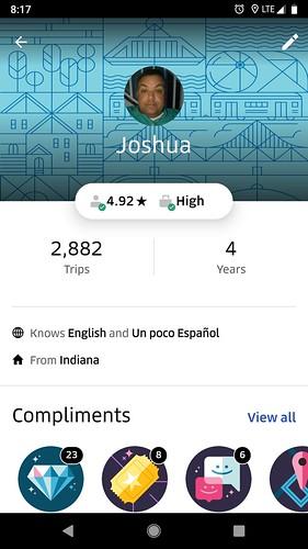 Perfil de Uber de Josh Overmyer