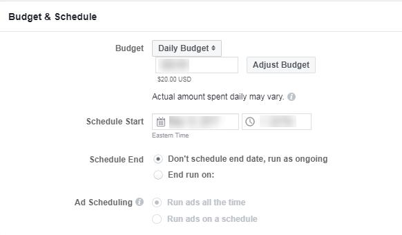 programación y presupuesto de anuncios publicitarios de Facebook b2b en el nivel de conjunto de anuncios