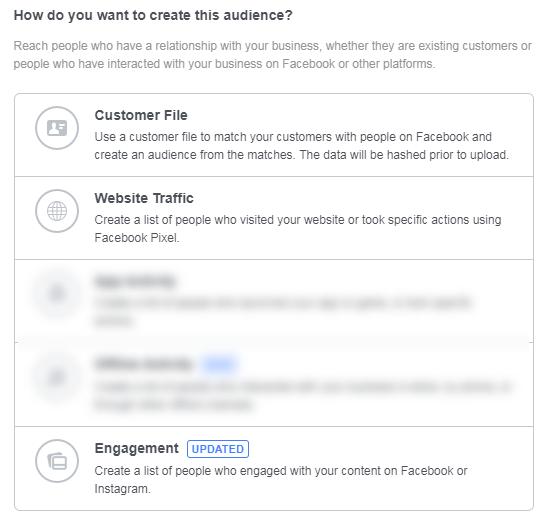 b2b facebook publicidad creación de audiencia personalizada