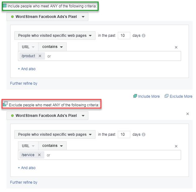 b2b inclusión y exclusión de creación de audiencia en facebook