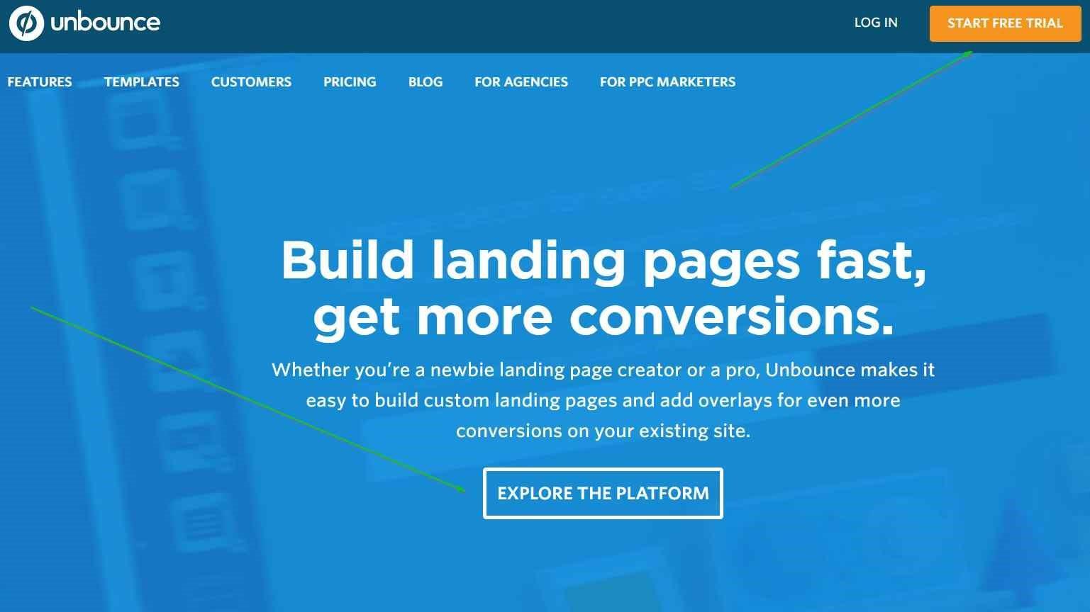 Diseños de página de aterrizaje Ejemplo de unbounce