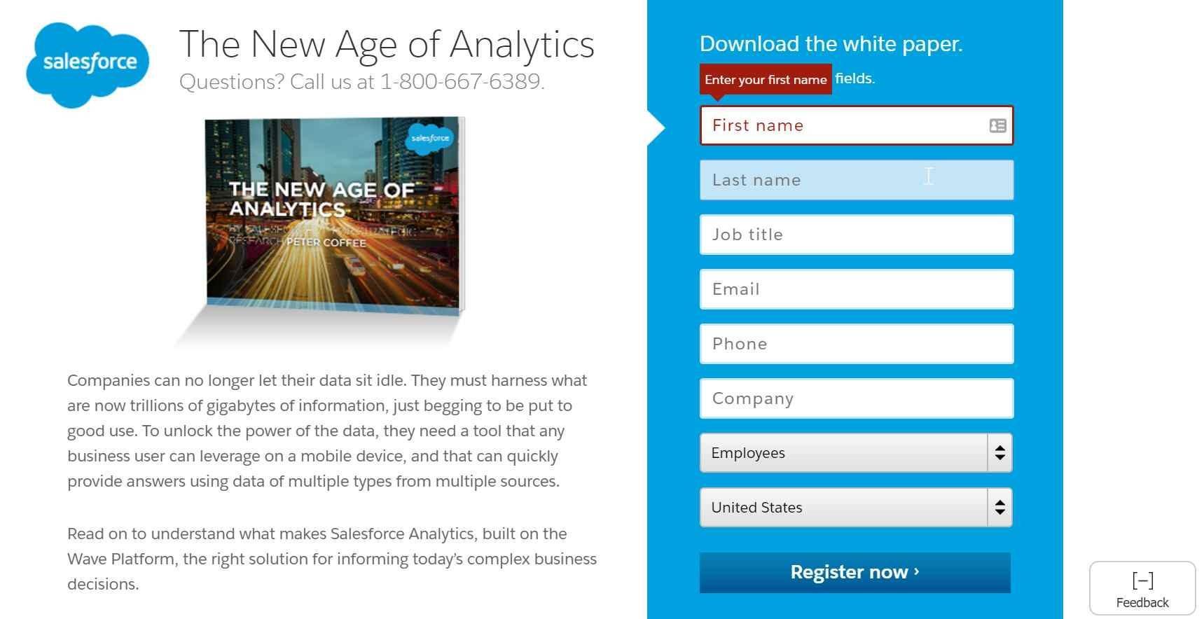Diseños de página de aterrizaje Ejemplo de Salesforce