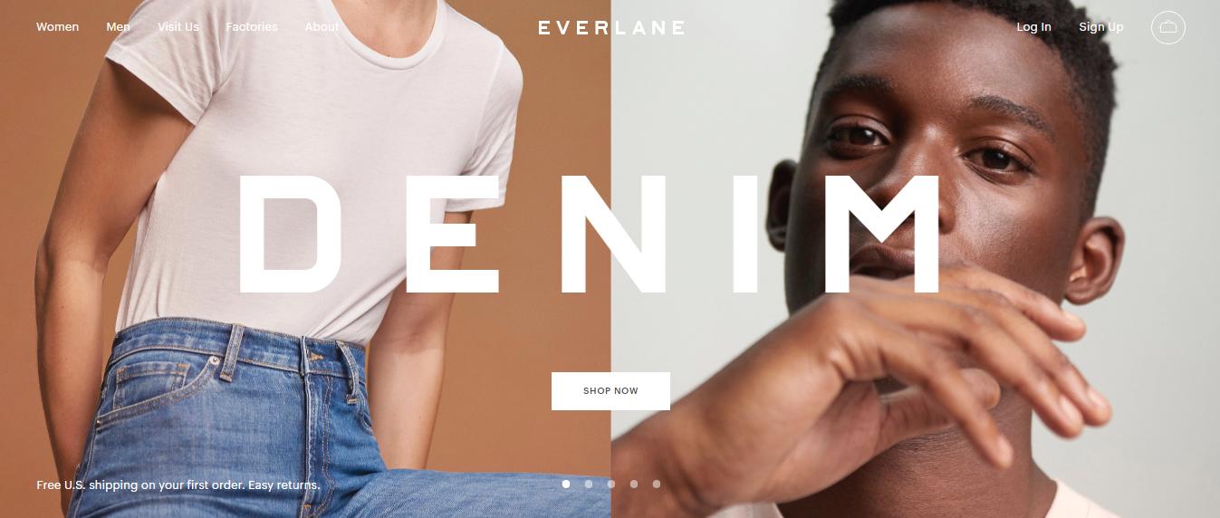 Página de inicio de marketing ético Everlane