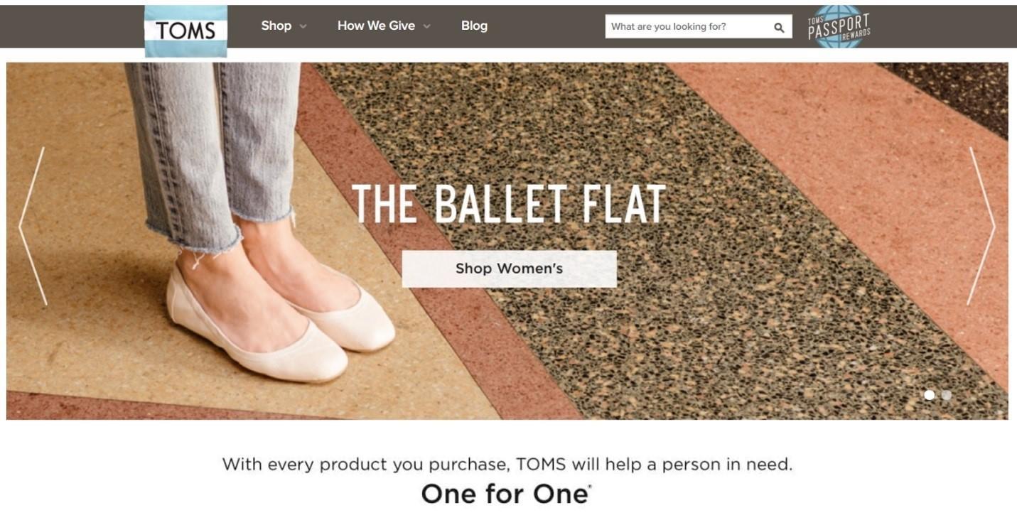 Zapatillas de ballet de marketing ético TOMS