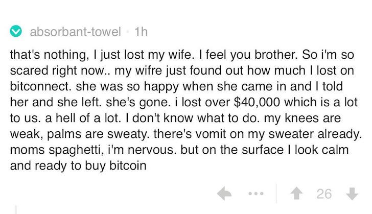 Bitconnect perdió dinero broma comentario