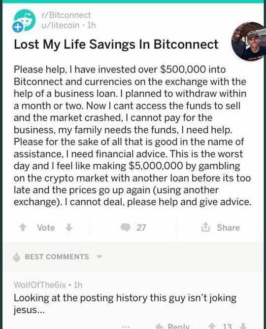 Ahorro de vida perdido en Bitconnect