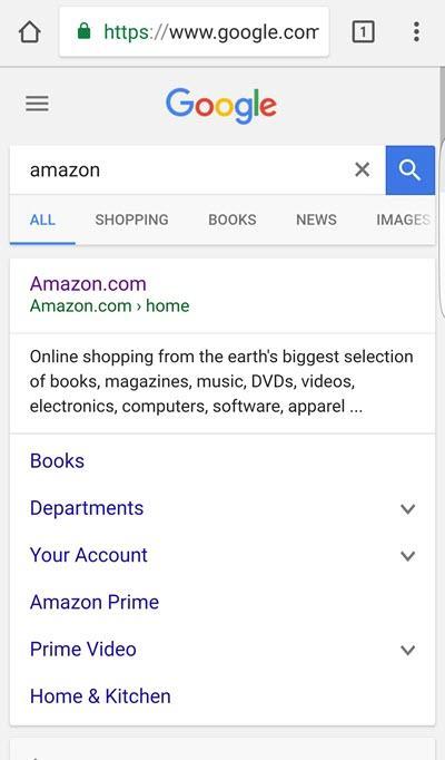 Búsqueda de marcas para Amazon en dispositivos móviles