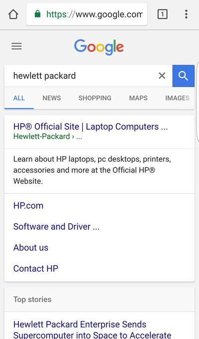 consulta de marca hp serp en dispositivo móvil