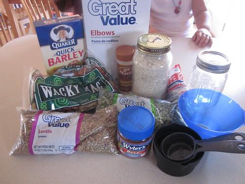 Ingredientes de la jarra de frijoles