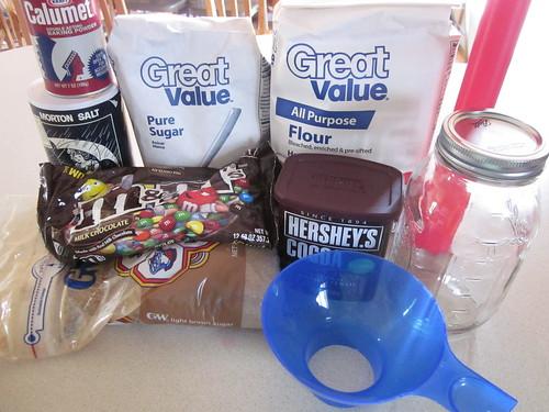 Ingredientes del frasco de brownie