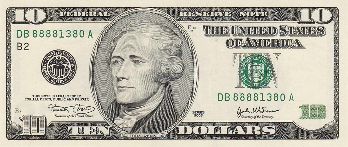 billete de diez dolares