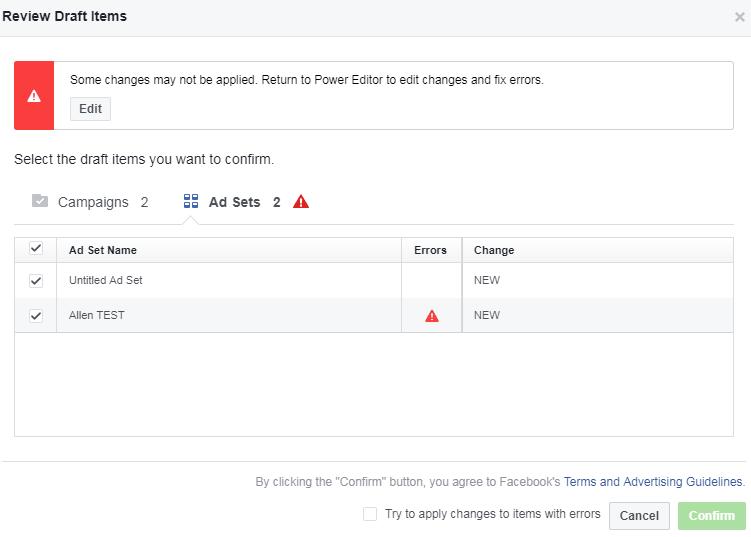 borrador de revisión de Facebook Power Editor antes de publicar