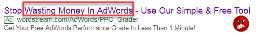 anuncio de búsqueda de adwords de sentimiento negativo que supera el anuncio de sentimiento positivo