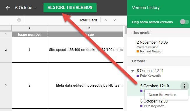 herramienta de agencia archivo de google restaurar versiones anteriores