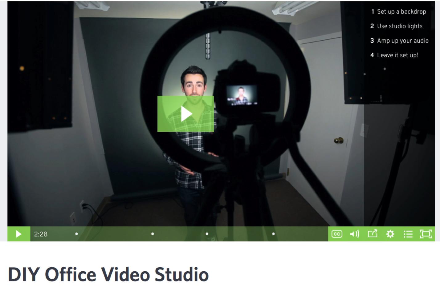 Cómo desarrollar la cultura del video en la configuración de estudio de video de la oficina de bricolaje de su empresa