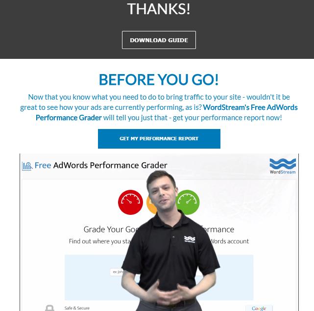 Cómo construir una cultura de video en su empresa Ejemplo de video de la página de inicio de WordStream