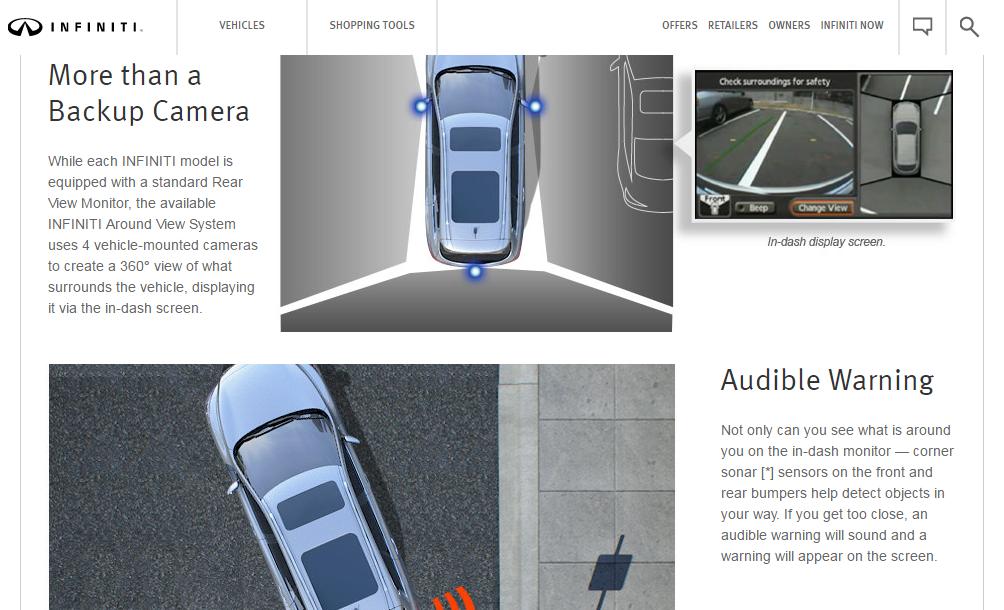 Copia del sitio web Ilustración del sensor de estacionamiento trasero Infinity